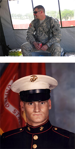 two photos of Mike Arieta in Army and Marines uniforms