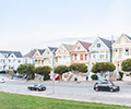 a row of homes -- the San Francisco's painted ladies